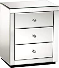 Artiss 2 x Bedside Tables, Mirrored Bedside Drawers, Silver