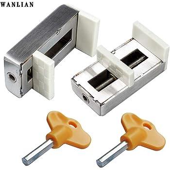 seguridad para ni/ños antirrobo Pack de 2 cerraduras correderas para ventanas,bloqueo de seguridad para marco de puerta de aleaci/ón de aluminio con llave