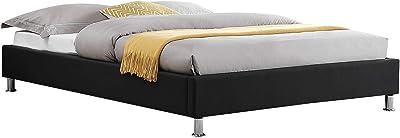 IDIMEX Lit futon Double pour Adulte Nizza Couchage 140 x 190 cm 2 Places / 2 Personnes, avec sommier et Pieds en métal chromé, revêtement en Tissu Noir