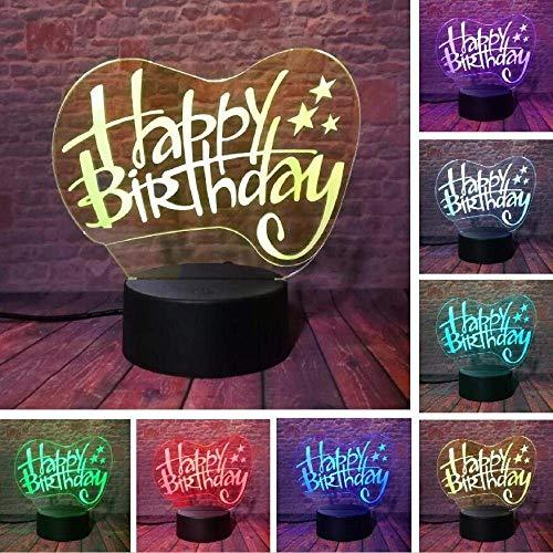 Creative 3D Happy Birthday Building Fashion Night Light Mood Atmosphere Illusion Lamp Bedroom Friend & Amp; Famille & Amp; Jouets Pour Enfants Cadeaux