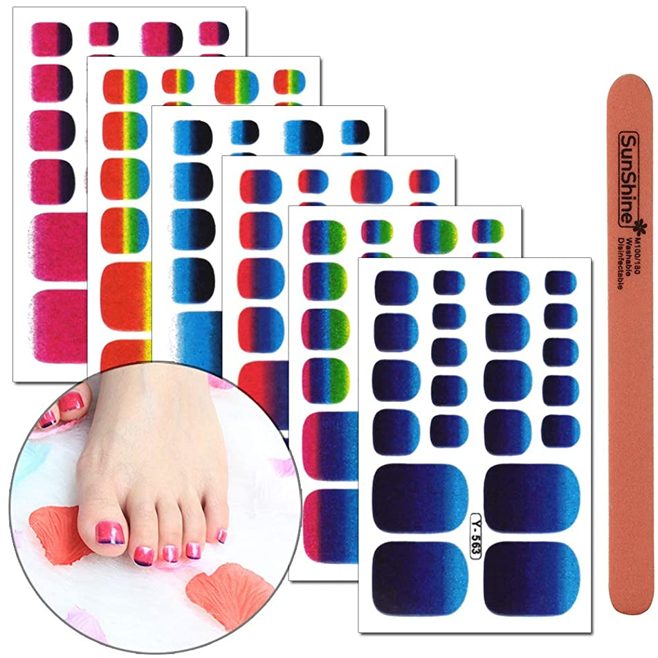 WOKOTO 6 Sheets Solid Color Full Toenail Self-Adhesive Stickers For Nail Art With 1Pcs Nail File Nail Polish Decals Strips Wraps Kit For Girls Women