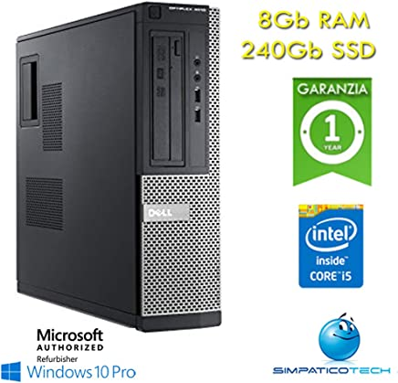Simpaticotech PC Desktop Dell Optiplex 3010 Core i5-3470 3.2GHz 8Gb 240Gb SSD Windows 10 Professional con Licenza Nuova Simpaticotech MAR Microsoft Authorized Refurbisher (Ricondizionato)