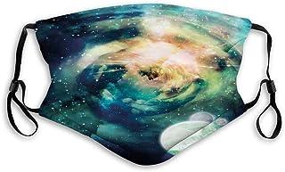 Vindtät aktiverad mask, spiral anromeda galax med planeter mystisk kosmos fantasi bakgrundsbild, ansiktsdekorationer för t...