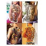 Rosenice Temporäre Tattoos, 4 Blätter, extra breiter Rücken, selbstklebend, Sexy, für Männer und Frauen