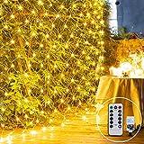 3X2M 200LED Lichternetz Außen Lichterkette Netz Weihnachten Lichterkette Verknüpfbar mit Fernbedienung & Timer 8 Modi für Innen Baum Zimmer Garten Weihnachtsdeko, (Warmweiß)