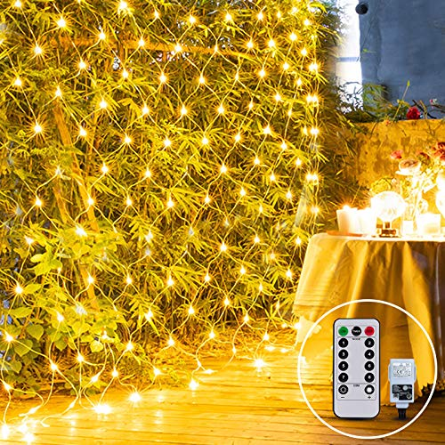 Outdoor Net Fairy Light Mains Powered 3M X 2M 200LED Garden Tree Light Mesh Light Plug in Twinkle 8Mode Connectable for Backyard Fence Balcony Easter Decor(Warm White)