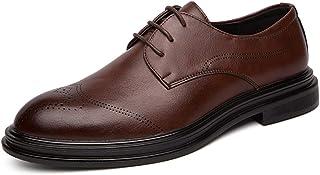 CAIFENG Oxfords Zapatos para Hombres Burnish Toe Brogues Brogues 3-Ojo Lace Up Gruesa Resistente a la Resistencia de Cuero...