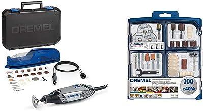 Dremel 3000-1/25 EZ - Multiherramienta con eje flexible (130 W, 1 complemento, 25 accesorios) + Dremel 2.615.S72.3JA Kit de 100 accesorios variados