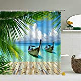Duschvorhang 3D Boot Wasserdicht Badewanne Vorhang Waschbar Polyester Stoff Badezimmer duschvorhänge mit 12 C-förmigen Kunststoffhaken, für Badewanne & Bathroom-200x200cm