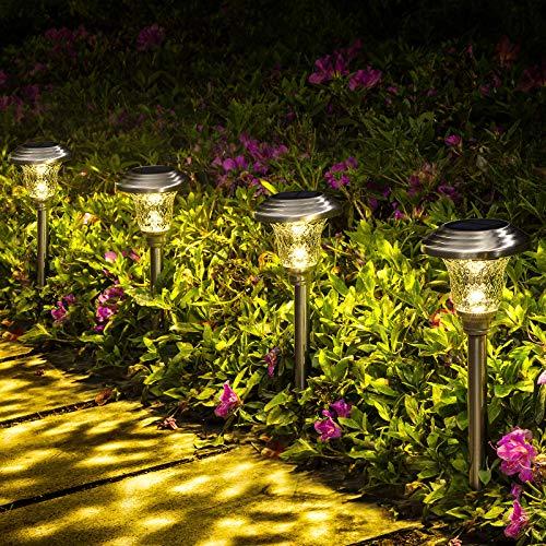 solar flower lights outdoor, GIGALUMI Solar Pathway Lights Outdoor