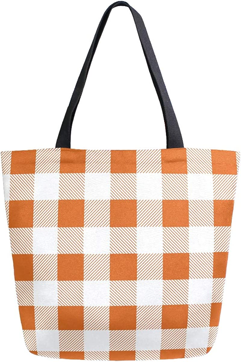 MNSRUU Women's Printed Canvas Tote Bag Shoulder Bag Hobo Handbag Casual Womens Purses Plaid