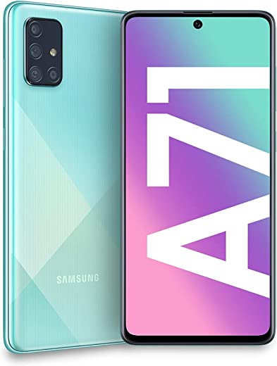 "Samsung Galaxy A71 (128GB, 6GB) 6.7"", 64MP Quad Camera, 25W Fast Charger, Android 10, GSM Unlocked US + Global 4G LTE International Model A715F/DS (128GB + 64GB SD + Case Bundle, Blue)"
