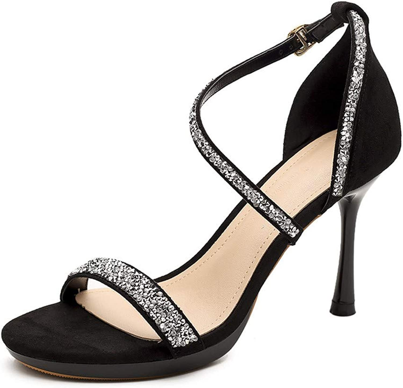 Top Shishang Black Word Belt Sandals Sexy Open Toe Versatile Rhinestone Stiletto Heels