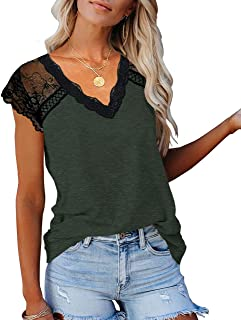 Womens Fashion T-Shirts Casual Lace Trim V Neck T Shirts Loose Fit Blouses Tunic Shirts Tops