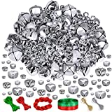 Winlyn 180 Pcs Christmas Sliver Jingle Bells Bulk Craft Bells Metal Bells 7 Sizes 6mm 8mm 10mm 12mm 15mm 20mm 25mm and 3 Styles Shiny Matte Frosted with Ribbon for Sliver Xmas Tree Ornaments Craft