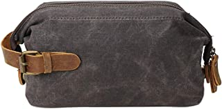 PING PING Retro Travel Clutch Toiletry Bag Wax Canvas Leather Kit for Men Women