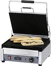 Grill panini professionnel rainuré - 375 x 273 mm - Casselin