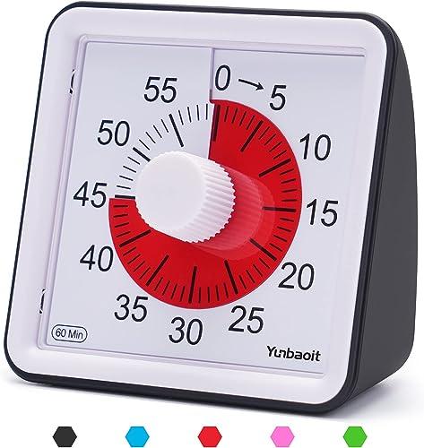 Yunbaoit Minuteur analogique visuel, Compte à rebours Silencieux, Outil de Gestion du Temps pour Enfants et Adultes(B...