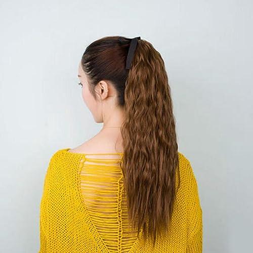 Longless Perücke Pferdeschwanz Birne roll Zopf Perücke Weißlichen Bundle langes lockiges kurzes Haar roll