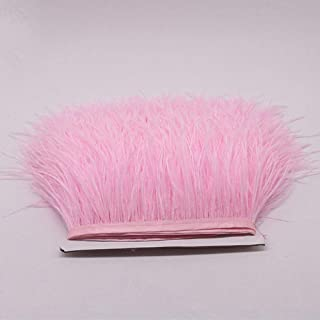 YEQIN 2 Yards Natural & Soft Ostrich Feathers Fringe Trims Ribbon - Used for Dress, Sewing Decoration, Craft Clothing, Boots, Wedding Decoration, DIY, Etc (pink)