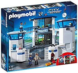 Fun for little police officers: Police Command Centre with Prison, police officers and criminals, many accessories for accurate role-play Three figures, two prison cells, with command centre and telephone system, helicopter landing field, courtyard w...
