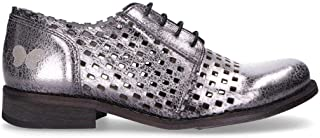 FELMINI Women's B655SILVER Silver Leather Lace-Up Shoes