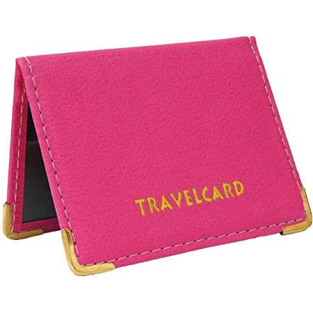 Soft Leather Travel Card Bus Pass Credit Card ID Card Wallet Cover Case Holder by Kwik Buy (Hot Pink)