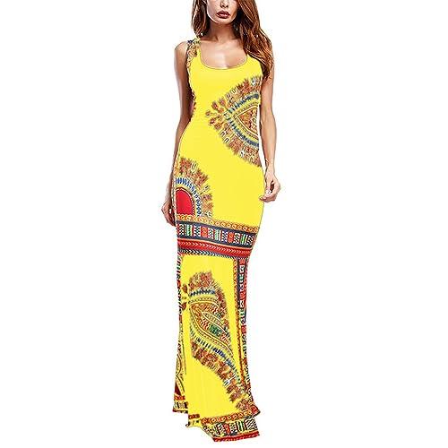 bf15fad683c Amoretu Women Boho Floral Sleeveless Dashiki Maxi Long African Evening  Cocktail Dress