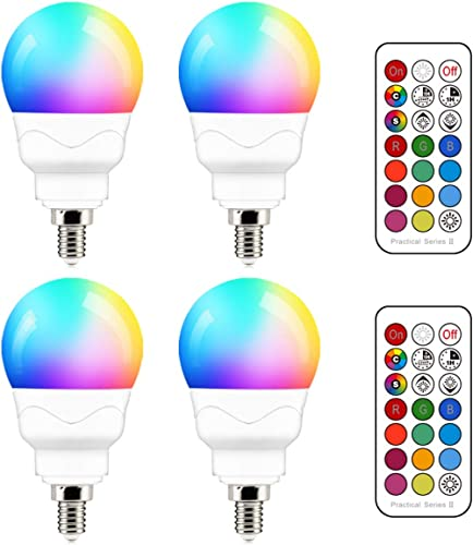 E12 LED Light Bulbs (40w Equivalent) 5W, Color Changing RGB, A15 Small Base Candelabra Round Light Bulb, Candle Base,...