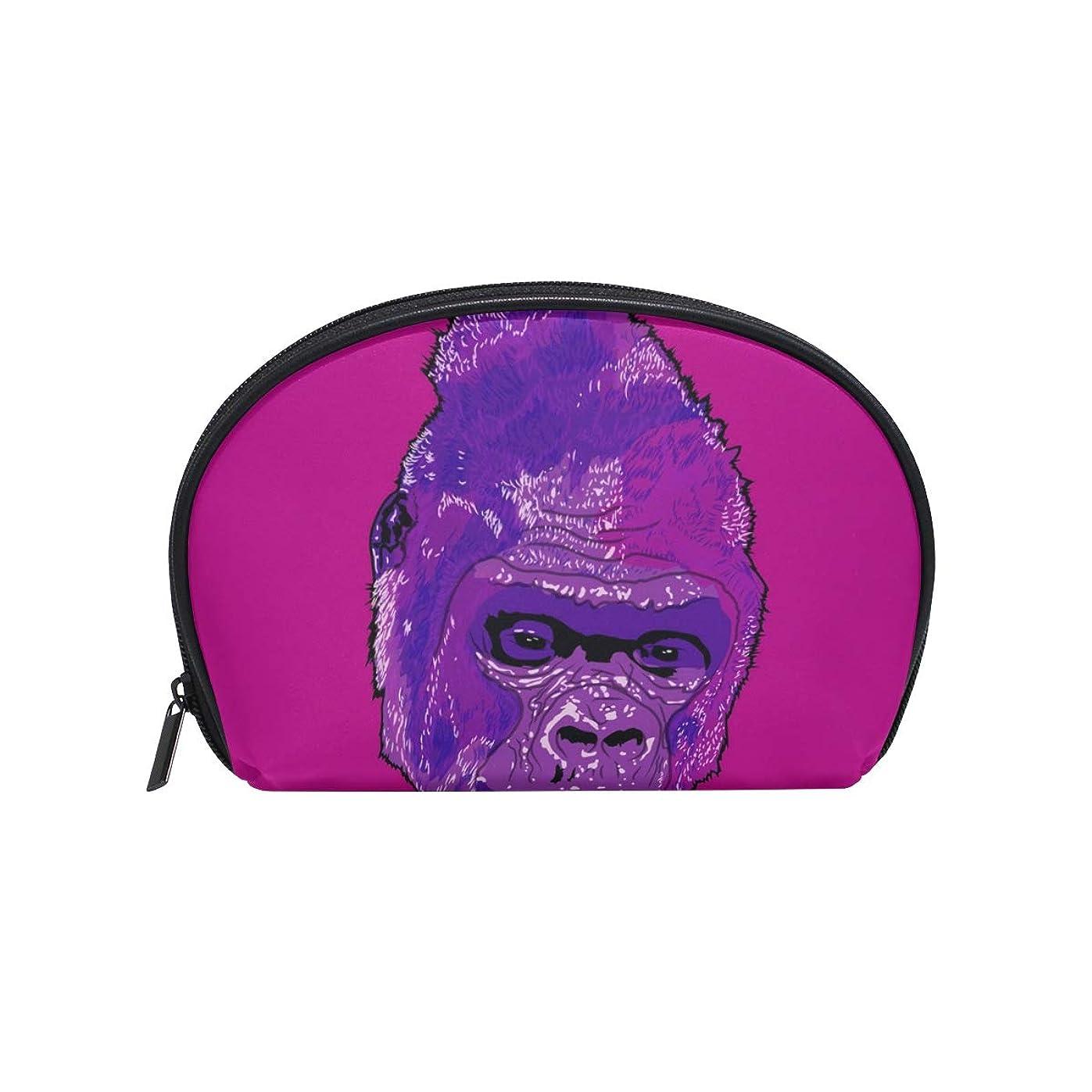 緯度政策曲半月型 ゴリラ原猿 化粧ポーチ コスメポーチ コスメバッグ メイクポーチ 大容量 旅行 小物入れ
