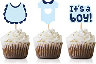 Blue It's a Boy Cupcake Topper Picks, 24-Pack Boy Baby Shower Or Birthday Party Supply Decorations
