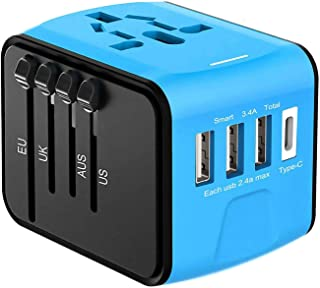 Full-Featured International Travel Adapter/Charger,USB Type Plug,Applicable to Mobile Phones, Tablet Computers, Digital Cameras, MP3, Laptops and All Other Equipment (Blue)