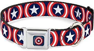 Buckle-Down Dog Collar Seatbelt Buckle Captain America Shield Repeat Navy Available in Adjustable Sizes for Small Medium Large Dogs