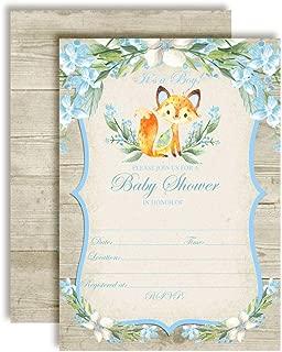 Watercolor Woodland Fox Baby Boy Sprinkle Baby Shower Invitations, 20 5