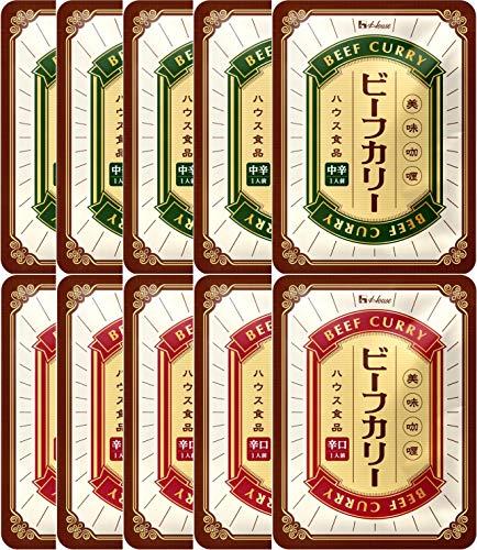 【Amazon.co.jp限定】 ハウス ビーフカリー×2種10個セット(中辛5個/辛口5個)【セット買い】