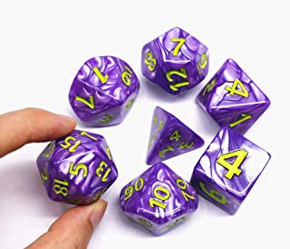 HD Dice- DND Polyhedral Dice Set 25mm Giant Dice for Dungeons and Dragons D&D Pathfinder RPG MTG Role Playing Dice with Dice Bag (Purple)