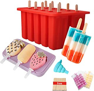 Cute Fruit Popsicle Molds Shapes, Food Grade Silicone Frozen Ice Popsicle Maker-BPA Free, with 62 Popsicle Sticks, 10 Disposable Ice Cube Bags, Funnel (10 Cavities + 3 Cavities)