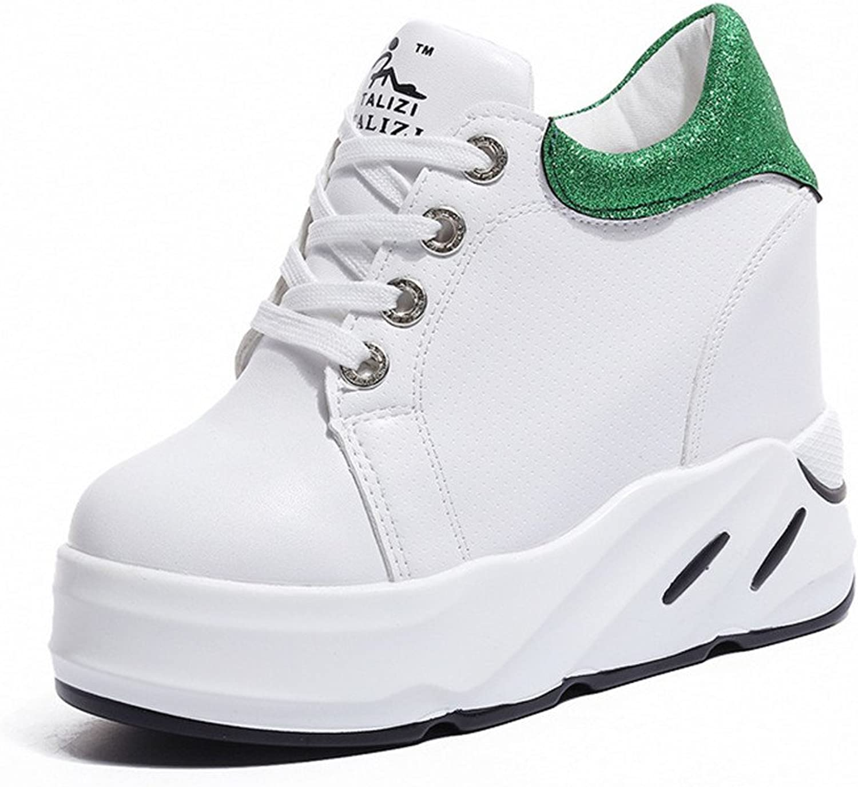 Pit4tk Women Anti-Slip Slip On Wedge Sneakers Platform Hidden High Heels shoes