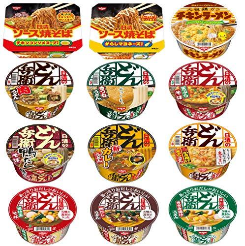 どん兵衛 チキンラーメン 焼きそばも入った日清食品 カップ麺 12食セット 関東圏