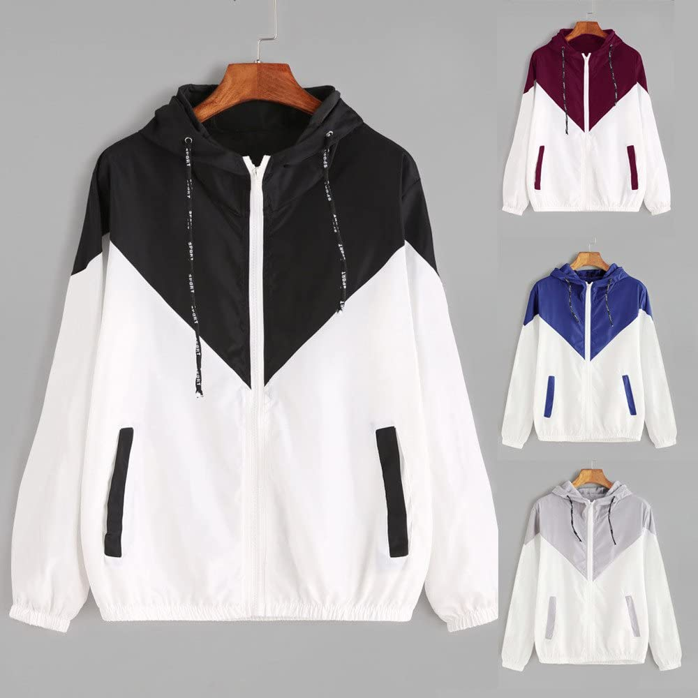 Damen Patchwork Mantel Dünne Skinsuits mit Kapuze Reißverschluss Taschen Sport Mantel MYMYG Frauen Lässige Langarm Sweatshirt Oversize Jacke Windbreaker Rot