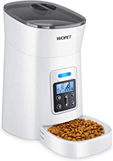 WOPET Automatic Cat Feeder, Pet Feeder Auto Dog Cat Feeder,Portion Control & Voice Recording – Timer Programmable Up to 4 Meals a Day (White)