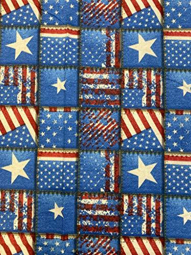 EUROSTYLE Colcha de media cara para sofá, gran foulard, tela decorativa con diseño de bandera estadounidense azul con estrellas de algodón (150 x 260 cm)