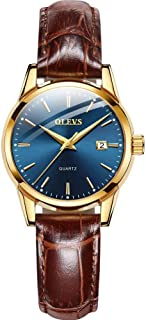 OLEVS Women's Watch - Ultra Thin Fashionable Minimalist - Stainless Steel Bezel Buckle - Breathable Leather Strap - Casual Analog Watch with Quartz Movement - Waterproof Wrist Watches