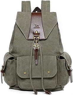 Mochilas de Lona, Popoti Mujeres Hombres Mochila Escolar Vintage Backpack Laptop Bag Daypack Unisex Rucksack School Bag pa...