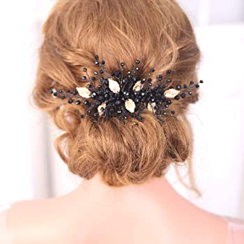 Amazon Com Fxmimior Black Hair Comb Gold Leaves Headpiece Vintage Style Women Hair Accessories Wedding Decorative Combs Gold Beauty