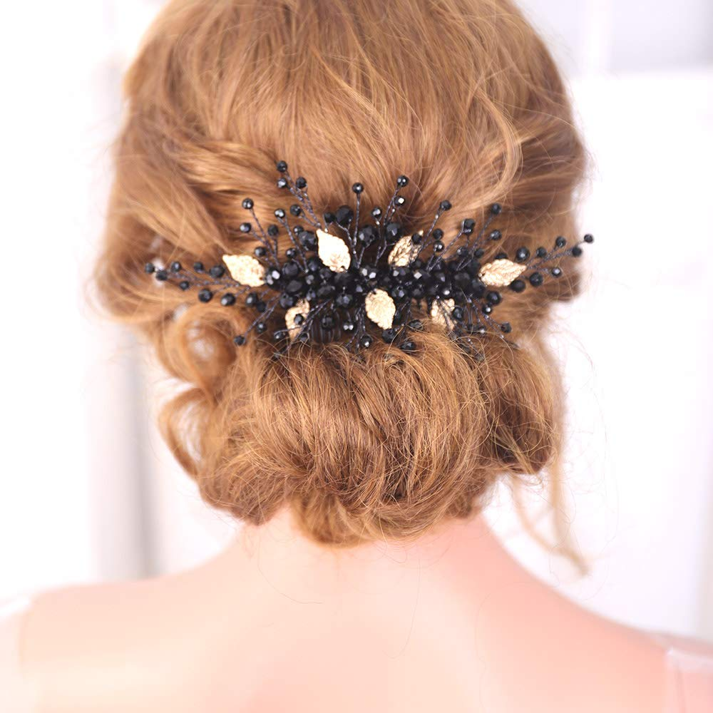fxmimior Black Selling Hair Comb Selling Gold Headpiece Leaves Style Vintage Wom