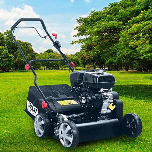 BRAST Benzin Vertikutierer 3,8kW(5,2PS) 40cm Arbeitsbreite 50L Fangkorb Motordrehzahlregler Rasenlüfter 196cm