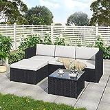 Sofá esquinero de jardín, sofá de esquina de ratán, muebles de jardín, juego de patio, juego de jardín, muebles de ratán y salón (negro)