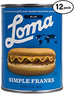 Loma Linda Blue - Plant-Based - Simple Franks (20 oz.) (Pack of 12) - Kosher