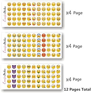 JOOEE Happy Emoji Stickers 12 Sheets with Same Faces Christma Kids Stickers from iPhone Facebook Twitter